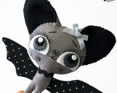 Little plush bat handmade felt art doll grey and black