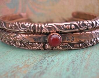 Boho stackable bracelets set of 3 - Ancient Alchemy - boho jewelry, copper cuff bracelets, southwestern bohemian, carnelian layering jewelry