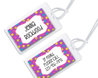 personalized bag tag for luggage, backpacks, lunch boxes and more, rainbow star design for back to school