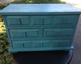 Shabby Vintage Teal Chic Jewelry Box