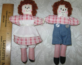 Vintage Miniature Raggedy Ann & Andy Pink Cloth Dolls
