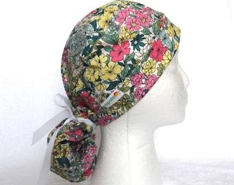 Surgical PonyTail Scrub Cap, Cactus flower, Pony tail scrub cap, Operating Hat, Ponytail Scrub Cap, succulent flowers, dessert, green