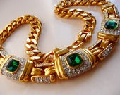 vintage classic faux emerald diamond choker necklace | big bold chunky links | gold tone | formal bridal | 1980s 1990s | Dior style