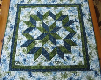 Table Topper Blue and Green, Table Quilt, Quilted Square, Carpenter Star, Handmade Table Topper, Quilted Table Topper, Wall Hanging