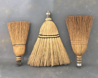 Vintage Whisk Brooms, Instant Collection, Three
