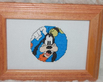 GOOFY - Completed and Framed Cross Stitch