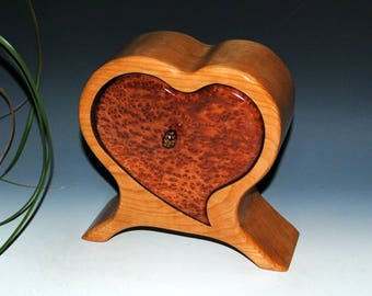 Handmade Wooden Heart Shaped Box - Redwood Burl on Cherry- Small Wood Jewelry Box, Wood Jewelry Box, Burl Wood Box, Valentine's Wooden Box