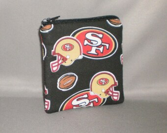 49ers - Football - Coin Purse - Gift Card Holder - Card Case -Small Padded Zippered Pouch - Mini Wallet - San Francisco