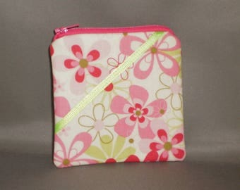 Coin Purse - Gift Card Holder - Card Case -Small Padded Zippered Pouch - Mini Wallet - Flower Power - Retro Hot Pink - Lime Green