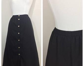Black Button Up Skirt by Koret // Plus Size Black Skirt