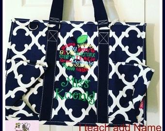 Navy Geometric Clover Pattern  LARGE Size Organizer, zippered Utility Tote Bag, Teacher Bag, Nurse Bag, Nurse Tote, Diaper Bag