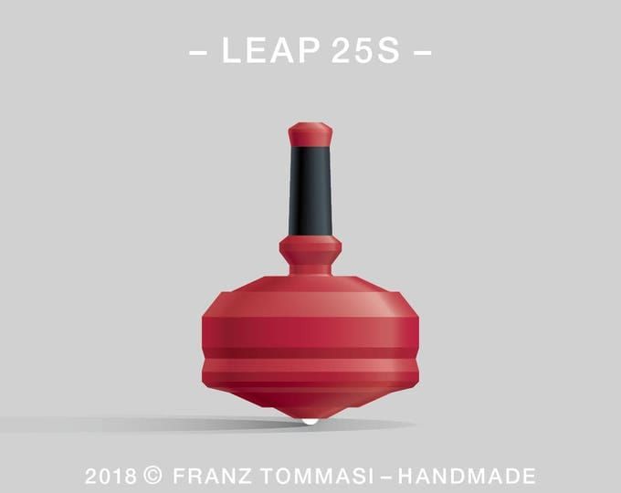 LEAP 25S Red – Precision handmade polymer spin top with ceramic tip and rubber grip