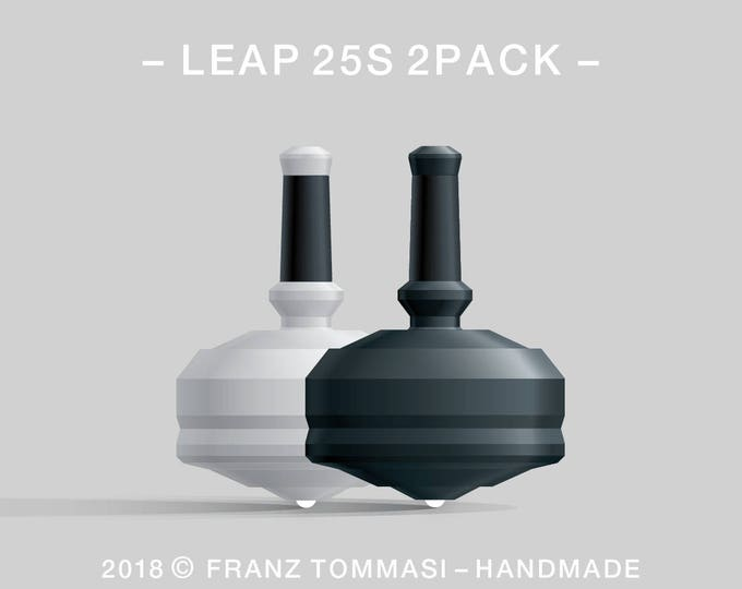 LEAP 25S 2PACK White-Black – Value-priced set of precision handmade polymer spin tops with ceramic tip and rubber grip