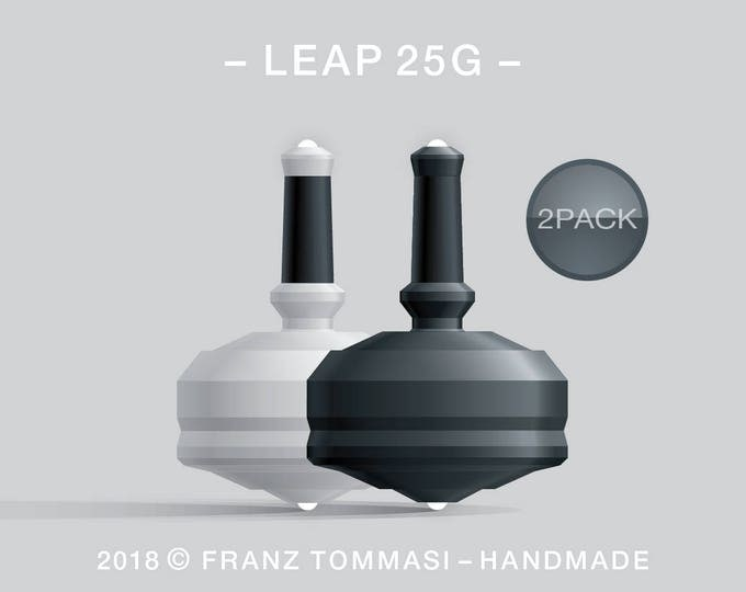 LEAP 25G 2PACK White-Black – Value-priced set of precision handmade spin tops with dual ceramic tip and integrated rubber grip
