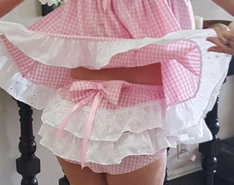 Pink Gingham Baby Dress with Panties Set