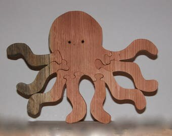 Toy Octopus - Child's Puzzle - Wooden Octopus Toy and Child's Decor