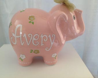 Personalized pink Large Elephant Piggy Bank- Gold White Flowers Newborns, Birthday Girls, Flower Girl, Baby Shower Gift Centerpieces