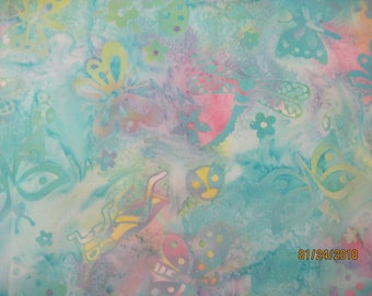 Batik pastel shades with butterflies and dragonflies 1/2 yard