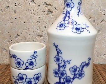 Cherry Blossom Sake Set - Blue and White Sake Set - Porcelain Sake Set - Porcelain Sake Bottle and Cups - Wedding Registry - Handmade Gift