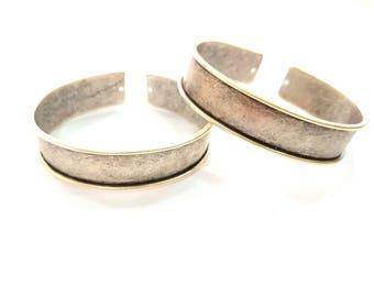 Bracelet Blanks Bangle Blanks Cuff Blanks Adjustable Bracelet Blank Antique Silver Plated Brass ( 15mm Blanks ) G7903