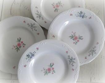 Vintage Pfaltzgraff Plates, Meadow Lane Pattern, Set of Four Floral Plates, Bridal Shower China, Salad Plates
