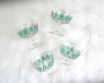 Mid Century Bar Ware, Clear and Green Glasses, Sherbert Glasses, Dessert Glasses, Bar Cart Decor