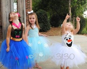 EARLYBIRD SALE Anna Frozen Inspired Tutu Anna Elsa Olaf Inspired Tutu Costume Dress for Dress Up or Halloween or Birthday Dress