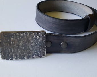 Handcrafted Indigo Buckle & Belt SET Hand Forged Hypoallergenic Unisex Belt Buckle with Hand Dyed Leather Wood Grain Snap Belt for Jeans