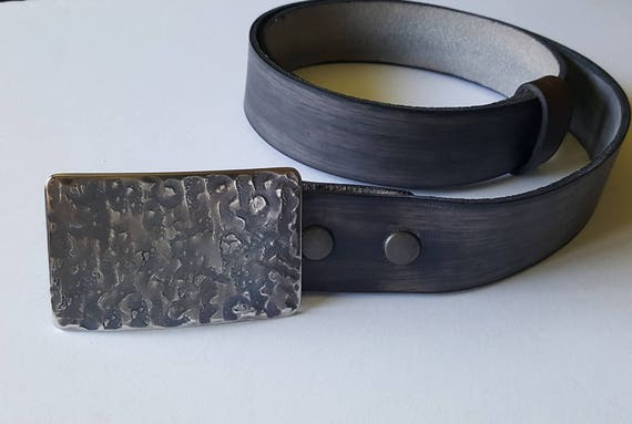 Handcrafted Indigo Buckle & Belt SET ~ Hand Forged ~ Hypoallergenic Unisex Belt Buckle with Hand Dyed Leather Wood Grain Snap Belt for Jeans
