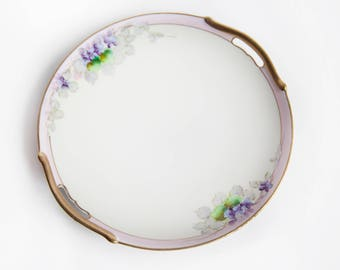 1966 Hand Painted Violets Decorative Cake Plate ~ Meito China ~ Purple Flowers ~ Lavender, Green and Gold