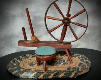 Rare Primitive Antique Vintage Miniature Spinning Wheel on Braided rope Rug with Stool Great wheel
