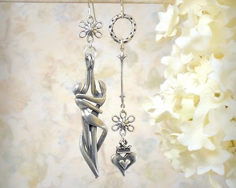 Silver Dancer Earrings Romantic Silver Earrings Long Silver Earrings Sterling Silver Flower Earrings Silver Heart Earrings Passionate Lovers