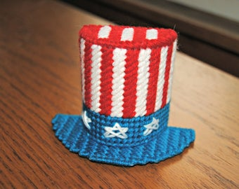 Plastic Canvas Patriotic Hat Magnet