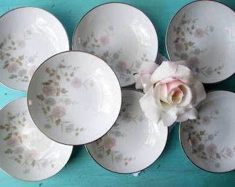 Vintage Noritake Dessert Bowls Barbara Pastel Floral Set of Seven