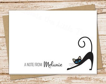 black cat personalized note cards . cat stationery . stationary . folded cards . cat notecards . siamese cat . set of 8