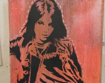 Joan Jett the Runaways punk art painting street art spray paint stencil record store art feminist punk women