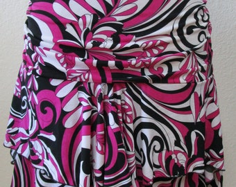 Geometric pattern Pink Flower Skirt or tube dress for your option to wear plus made in USA  (v20)