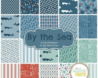 "By the Sea - Charm Pack/Stacker by Dani Mogstad for Riley Blake - 40- 5""x5"" Quilting Fabric Squares"