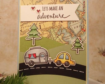 Camping Greeting Card featuring Airstream Trailer for the Camper, Adeventurer, or Traveler - Handmade, with yellow car and forest scene