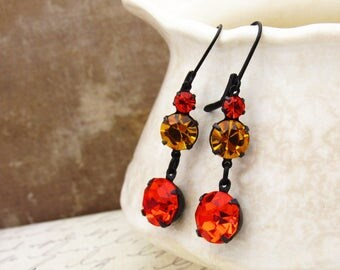 Autumn Hyacinth Orange & Golden Topaz Swarovski Rhinestone Dangle Earrings Black Oxidized Black Lever Back Earring Drops