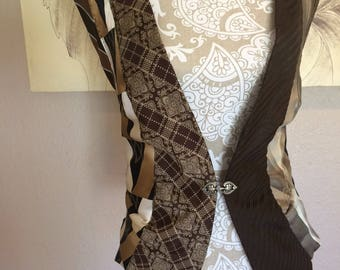 Vest Upcycled From Men's Ties in Browns