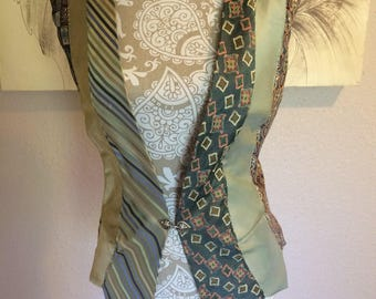 Vest UpCycled from Men's Ties in Green, Tan and Blue