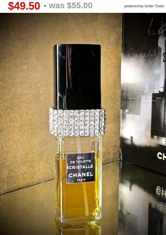 Summer Sale French Perfume Bottle- Bath decor- Handmade Gifts- Perfume Bottle decor- Vanity decor- Crystal Perfume bottle- Rhinestone Gla...