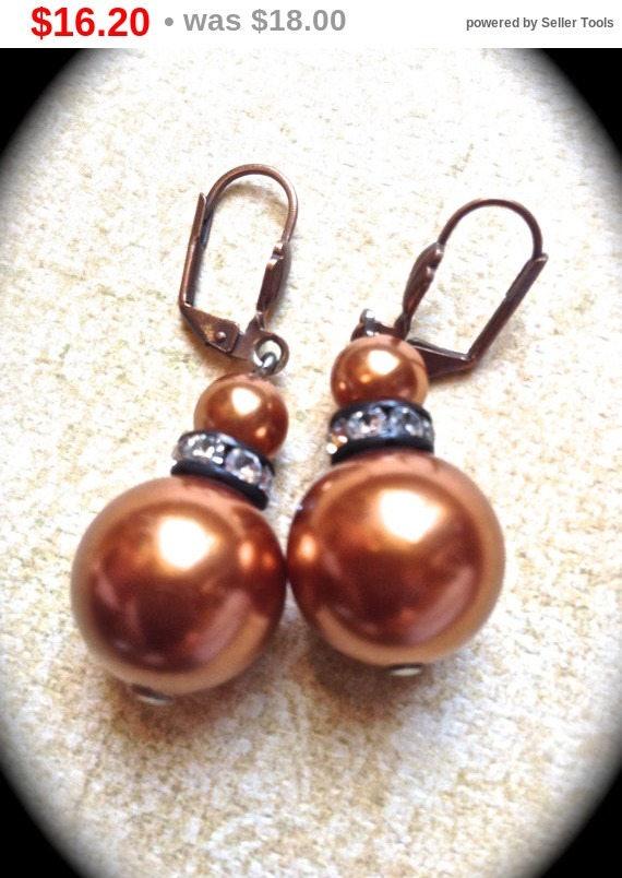 Summer Sale Golden copper faux pearl dangle earrings