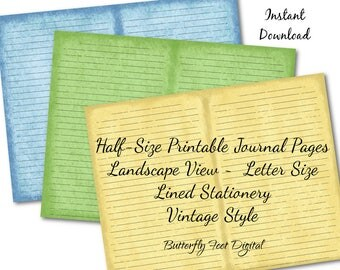 Half-size Printable Journal Pages, Printable Stationery, Lined Paper, Landscape View, Vintage Style, Set of 3, Instant Download
