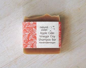 Apple Cider Vinegar, Small Shampoo Bar, Clay Bar, Vegan Shampoo, Solid Shampoo, Hair Care, Palm Free, Organic Soap, Vegan Soap, Natural Hair