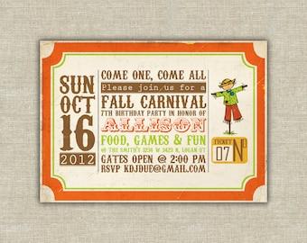 Harvest party invitation, Carnival birthday party invitation, Harvest birthday party invitation, pumpkin invitation, scarecrow invitation