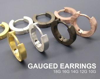 Gauge Hoop Earrings - Men's Gold Huggie - Custom Men's Earrings - 14 Gauge - 16 Gauge - 18 Gauge - Custom Gauge Earrings  - Medium E140