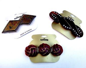 3 vintage Karina big and bold hair barrette celluloid hair accessory hair clip hair slide hair ornament (ADA)