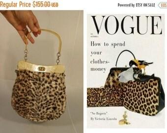 Anniversary Sale 35% Off Vogue Purrr Style - Vintage 1950s Leopard Faux Fur Print w/Marblized Lucite Handle Handbag